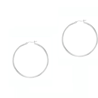 14 Karat White Gold Polish Finished 30mm Hoop Earrings With Hinge With Notched Closure