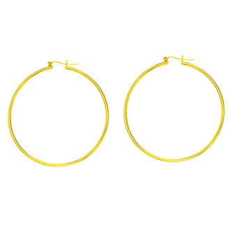 14 Karat Yellow Gold Polish Finished 45mm Hoop Earrings With Hinge With Notched Closure