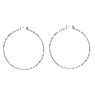 14 Karat White Gold Polish Finished 45mm Hoop Earrings With Hinge With Notched Closure