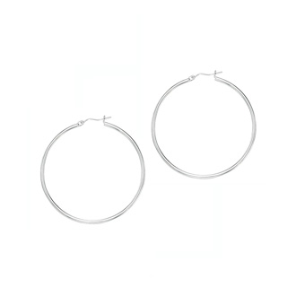 14 Karat White Gold Polish Finished 50mm Hoop Earrings With Hinge With Notched Closure