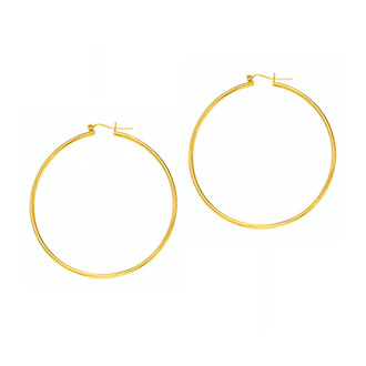 14 Karat Yellow Gold Polish Finished 55mm Hoop Earrings With Hinge With Notched Closure