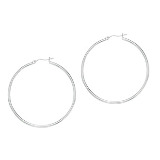 14 Karat White Gold Polish Finished 60mm Hoop Earrings With Hinge With Notched Closure