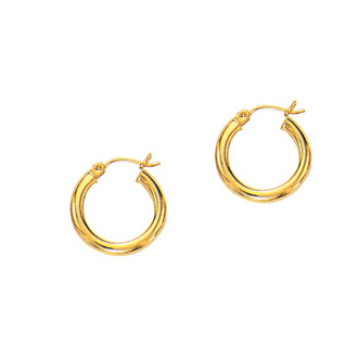 14 Karat Yellow Gold Polish Finished 15mm Hoop Earrings With Hinge With Notched Closure