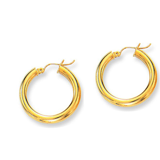 14 Karat Yellow Gold Polish Finished 25mm Hoop Earrings With Hinge With Notched Closure