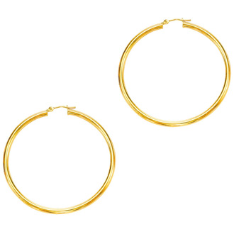 14 Karat Yellow Gold Polish Finished 50mm Hoop Earrings With Hinge With Notched Closure