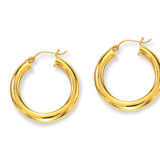14 Karat Yellow Gold Polish Finished 30mm Hoop Earrings With Hinge With Notched Closure