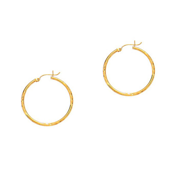 14 Karat Yellow Gold Polish Finished 15mm Diamond Cut Hoop Earrings With Hinge With Notched Closure