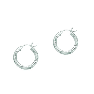 14 Karat White Gold Polish Finished 15mm Diamond Cut Hoop Earrings With Hinge With Notched Closure