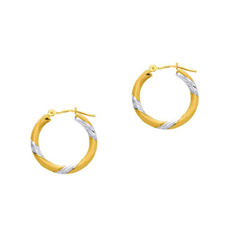 14 Karat Yellow and White Gold Polish Finished 20mm Diamond Cut Hoop Earrings With Hinge With Notched Closure