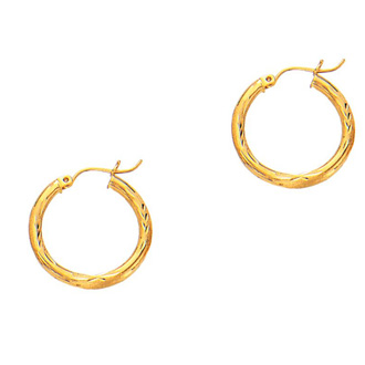 14 Karat Yellow Gold Polish Finished 20mm Diamond Cut Hoop Earrings With Hinge With Notched Closure