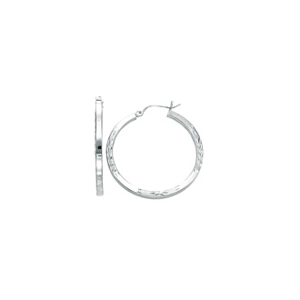 14 Karat White Gold Polish Finished 35mm Diamond Cut Hoop Earrings With Hinge With Notched Closure