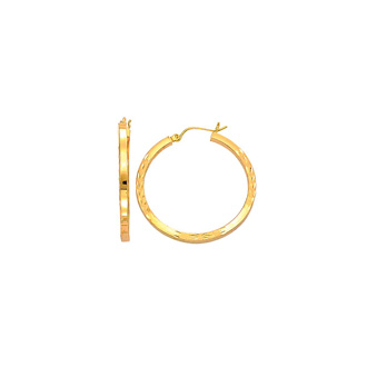 14 Karat Yellow Gold Polish Finished 35mm Diamond Cut Hoop Earrings With Hinge With Notched Closure