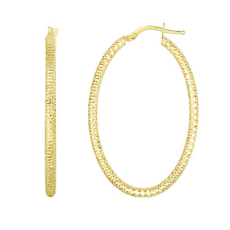 14 Karat Yellow Gold Polish Finished 36mm Textured Hoop Earrings With Hinge With Notched Closure