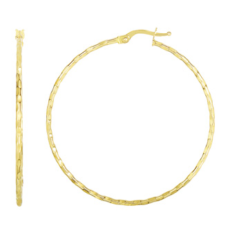 14 Karat Yellow Gold Polish Finished 45mm Textured Hoop Earrings With Hinge With Notched Closure