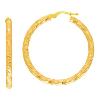 14 Karat Yellow Gold Polish Finished 28mm Twisted Textured Hoop Earrings With Hinge With Notched Closure