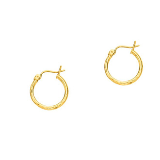 14 Karat Yellow Gold Polish Finished 15mm Etched Hoop Earrings With Hinge With Notched Closure