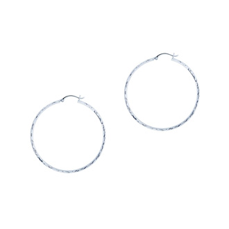14 Karat White Gold Polish Finished 30mm Etched Hoop Earrings With Hinge With Notched Closure