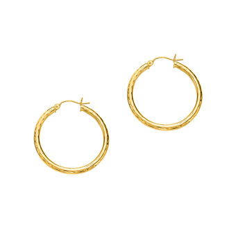 14 Karat Yellow Gold Polish Finished 30mm Etched Hoop Earrings With Hinge With Notched Closure