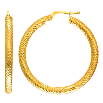 14 Karat Yellow Gold Polish Finished 24mm Etched Hoop Earrings With Hinge With Notched Closure
