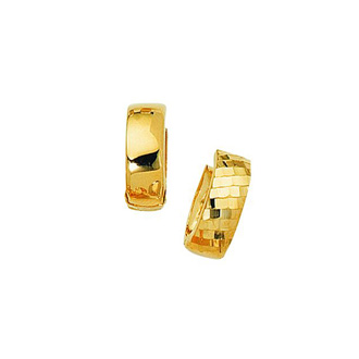 14 Karat Yellow Gold Polish Finished 15mm Checkered Snuggie Hoop Earrings With Hidden Snap Backs