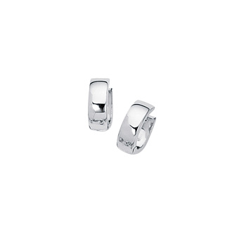 14 Karat White Gold Polish Finished 15mm Snuggie Hoop Earrings With Hidden Snap Backs