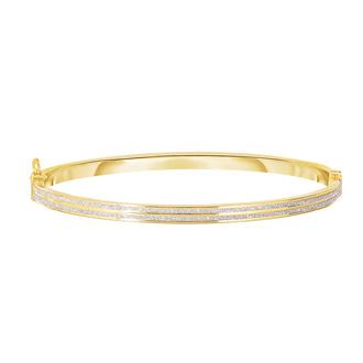 """14 Karat Yellow Gold Polish Finished 5.94mm Laser Finished Glitter Bangle Bracelet With Box Tongue and Safety Closure, 7 1/4"""""""
