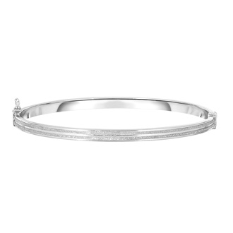14 Karat White Gold Polish Finished 5.94mm Laser Finished Glitter Bangle Bracelet With Box Tongue and Safety Closure, 7 1/4""