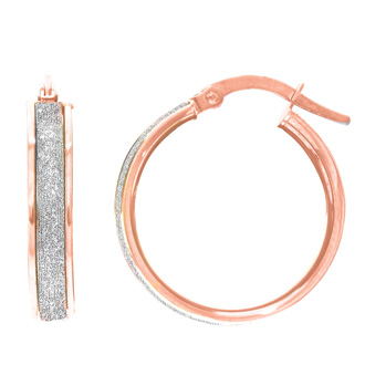 14 Karat Rose Gold Polish Finished 16mm Laser Finished Glitter Hoop Earrings With Hinge With Notched Closure