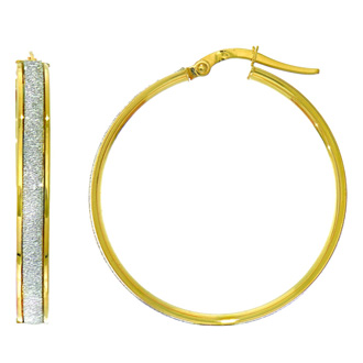 14 Karat Yellow Gold Polish Finished 28mm Laser Finished Glitter Hoop Earrings With Hinge With Notched Closure