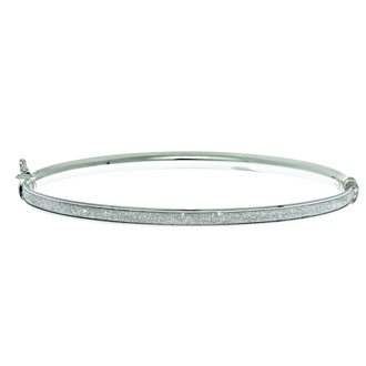 14 Karat White Gold Polish Finished 3.82mm Laser Finished Glitter Bangle Bracelet With Box Tongue and Safety Closure, 7 1/4""