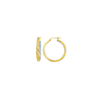 14 Karat Yellow and White Gold Polish Finished 25mm inside-out Hoop Earrings With Hinge With Notched Closure