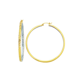 14 Karat Yellow and White Gold Polish Finished 50mm inside-out Hoop Earrings With Hinge With Notched Closure