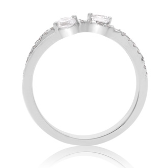 3/8 Carat Two Stone Diamond Infinite Love Ring In 10K White Gold