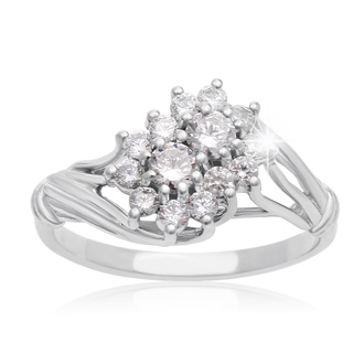 1/2 Carat Two Stone Diamond Floral Inspired Ring In 10K White Gold