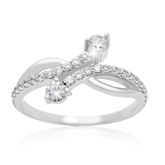 1/2 Carat Two Stone Diamond Curve Ring In 10K White Gold