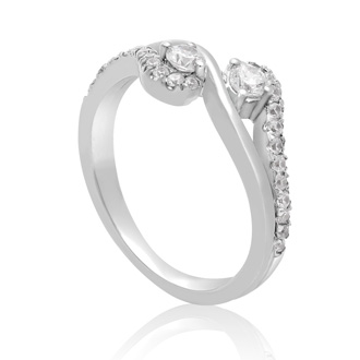 1/2ct Two Stone Diamond Graceful Ring In 10K White Gold