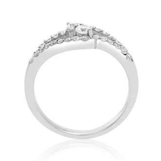1/2 Carat Two Stone Diamond Intertwined Ring In 10K White Gold