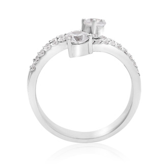 3/4 Carat Two Stone Diamond Swirling Ring In 14K White Gold