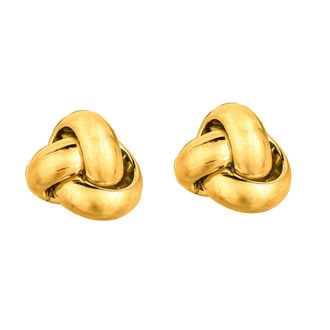 14 Karat Yellow Gold Polish Finished 9mm Love Knot Stud Earrings With Friction Backs