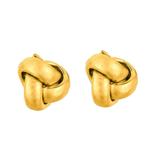 14 Karat Yellow Gold Polish Finished 7mm Love Knot Stud Earrings With Friction Backs