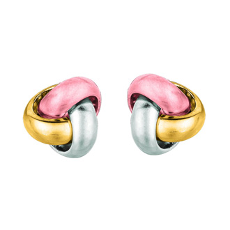 14 Karat Tri-Tone Yellow, White and Rose Gold Polish Finished 9mm Love Knot Stud Earrings With Friction Backs