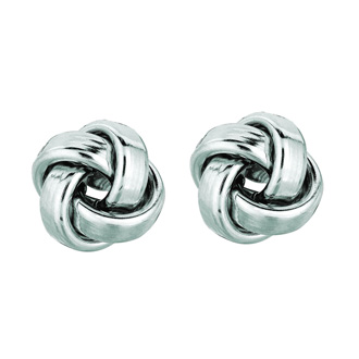 14 Karat White Gold Polish Finished 9mm Love Knot Stud Earrings With Friction Backs