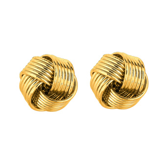 14 Karat Yellow Gold Polish Finished 10mm Textured Love Knot Stud Earrings With Friction Backs