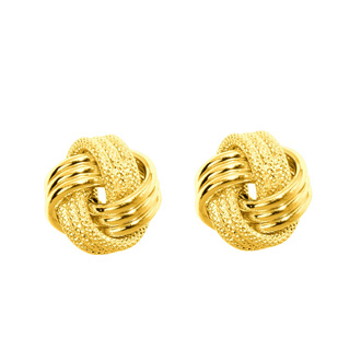 14 Karat Yellow Gold Polish Finished 9mm Multi-Textured Love Knot Stud Earrings With Friction Backs