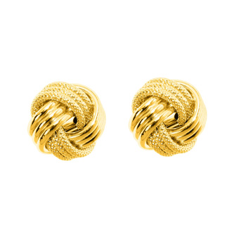 14 Karat Yellow Gold Polish Finished 10mm Multi-Textured Love Knot Stud Earrings With Friction Backs