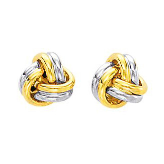 14 Karat Two-Tone Yellow and White Gold Polish Finished 9mm Love Knot Stud Earrings With Friction Backs