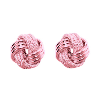 14 Karat Rose Gold Polish Finished 9mm Multi-Textured Love Knot Stud Earrings With Friction Backs