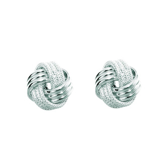 14 Karat White Gold Polish Finished 9mm Multi-Textured Love Knot Stud Earrings With Friction Backs