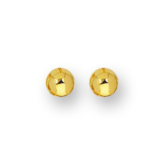 14 Karat Yellow Gold Polish Finished 4mm Ball Stud Earrings With Friction Backs