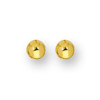14 Karat Yellow Gold Polish Finished 6mm Ball Stud Earrings With Friction Backs